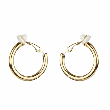 Charline's Clip-on Hoop Earrings - Goldtone, 20mm