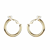 Charline's Clip-On Goldtone Hoop earrings - 20mm