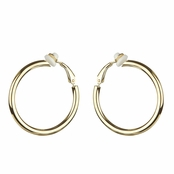 Charline's Clip-On Goldtone Hoop earrings - 30mm