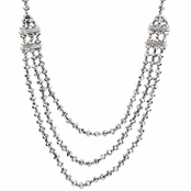 Chela's Triple Strand Crystal Necklace - Gray - Final Sale