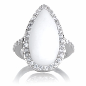 Chela's White Pear Cut Cocktail Ring