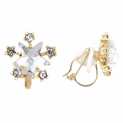 Chelsea's Gold Rhinestone Star Clip On Earrings