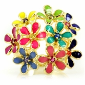 Chevon's Rainbow Cocktail Ring - Flower Cluster