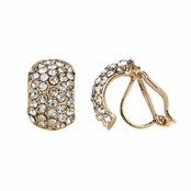 Chloe's Gold Rhinestone Half Hoop Clip On Earrings