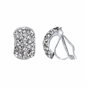 Chloe's Silver Tone Rhinestone Half Hoop Clip On Earrings