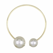 Chrisann's Designer Style Double Faux White Pearl Collar Necklace