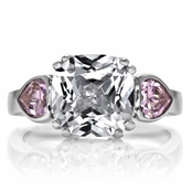 Cindy's Cushion Cut and Pink Heart CZ Three Stone Ring