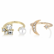 Cindy's Goldtone Adjustable Ring Set - Imitation Pearl Cluster & Star/Moon