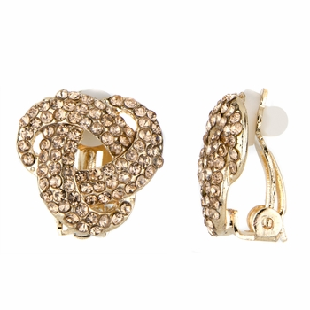 Clementine's Champagne CZ Love Knot Clip On Earrings