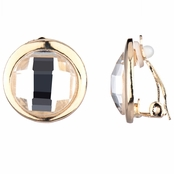 Coleen's Circle Stone Clip-on Earrings - Clear