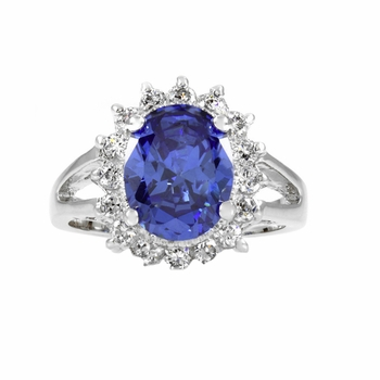 Royal Style Engagement Ring Silvertone - Light Blue CZ