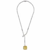 Constance's Fancy Cushion Cut Canary CZ Tennis Necklace