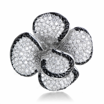 Contessa's Two-Tone Flower CZ Cocktail Ring