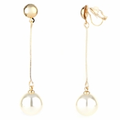 Cora's Gold and Faux Pearl Drop Clip On Earrings