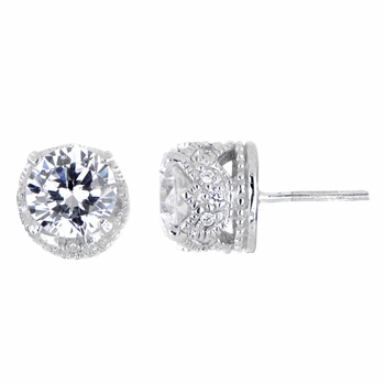 Crown CZ Stud Earrings
