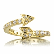 Cupid's Gold Tone Wrapped CZ Arrow Ring