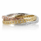 CZ Studded Tri-Color Rolling Ring