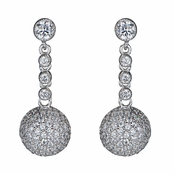 Dakota's Micro Pave Cubic Zirconia Ball Dangle Earrings