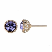 Dakota's Purple Stone Rose Goldtone Stud Earrings