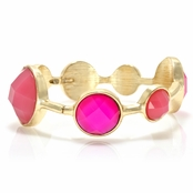 Daney's Circle Statement Stretch Bracelet - Pink and Gold