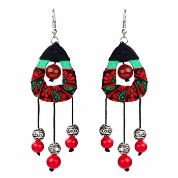 Dani's Handmade Wooden Beaded Dangle Earrings