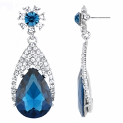 Daniella's Fancy Dangle Pear Drop Earrings - Blue