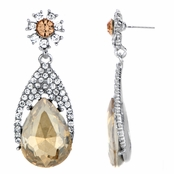 Daniella's Fancy Dangle Pear Drop Earrings - Champagne