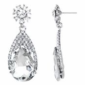 Daniella's Fancy Dangle Pear Drop Earrings - Clear