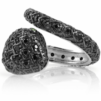 Dar's Black CZ Snake Ring