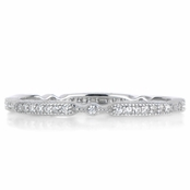 Darby's Art Deco CZ Wedding Band - Silvertone