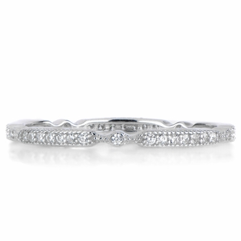 Darby's Art Deco CZ Wedding Ring Band - Silvertone