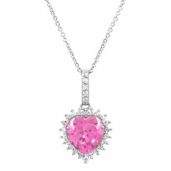 Darling's Pink Heart Shaped Pendant Necklace