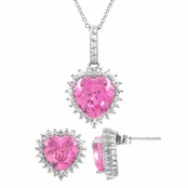 Darling's Pink Heart Earring & Necklace Set