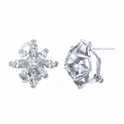 Dawn's Silver Tone Cubic Zirconia Floral Stud Earrings