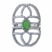 Daya's Jade and Simulated Diamond Art Deco Cocktail Ring