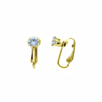 Deena's Goldtone Blue CZ Imitation Birthstone Clip On Earrings