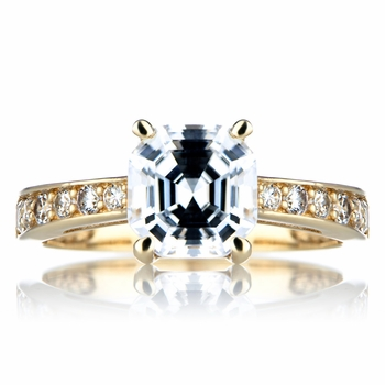 DeGeneve's Goldtone Asscher Cut CZ Engagement Ring