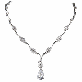 Pear Drop CZ Cluster Necklace