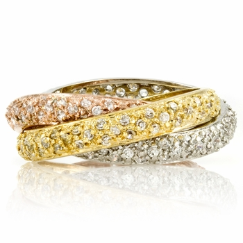 Designer Inspired Pave Trinity Rolling Ring