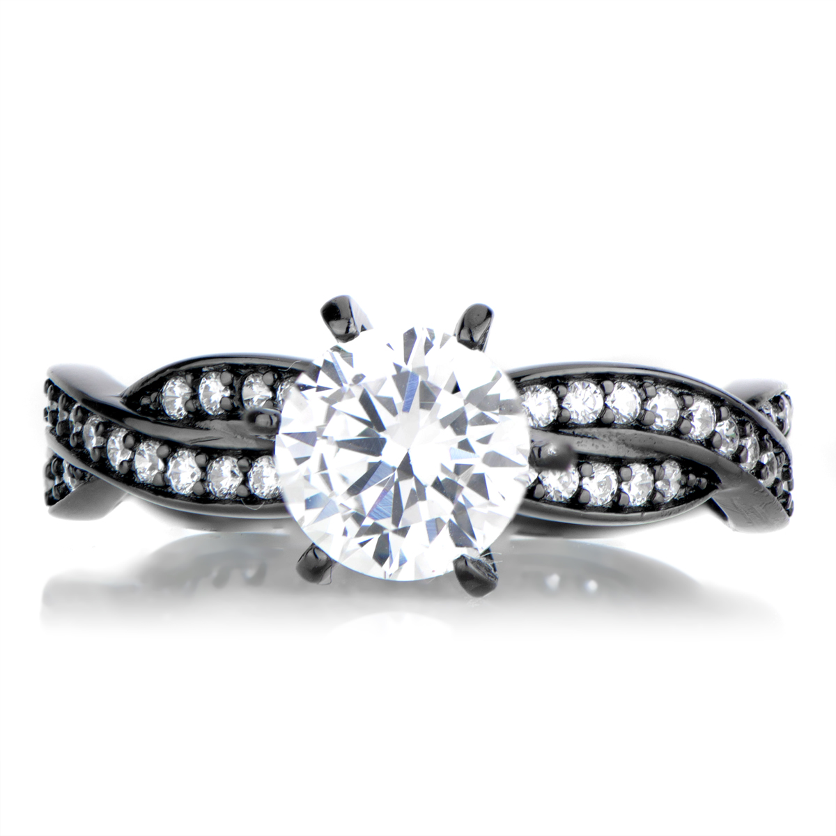 Devera\'s Black Plated Twisted CZ Engagement Ring