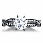 Devera's Black Plated Twisted CZ Engagement Ring