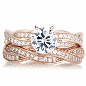 Devera's Rose Gold CZ Twisted Wedding Ring Set
