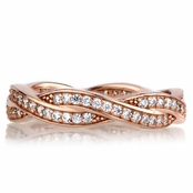 Devera's Rose Gold Twisted CZ Wedding Band