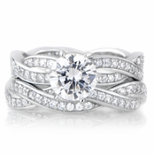 Devera's Sterling Silver CZ Twisted Wedding Ring Set