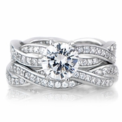 Devera's Silvertone CZ Twisted Wedding Ring Set