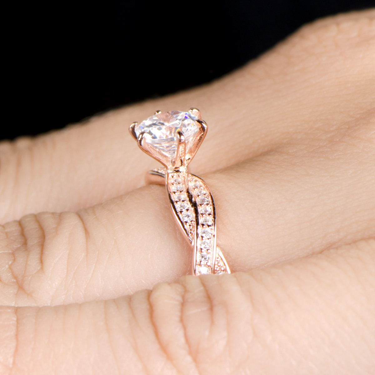 Devera s Twisted CZ Engagement Ring Rose Goldtone