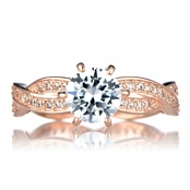 Devera's Twisted CZ Engagement Ring - Rose Gold Tone