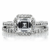 Devon's 1.5 CT Asscher Cut CZ Wedding Ring Set