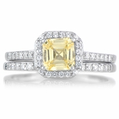 Devon's 1.5 CT Asscher Cut Canary CZ Wedding Ring Set