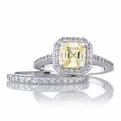 Devon's 1.5 CT Asscher Cut CZ Wedding Ring Set - Canary